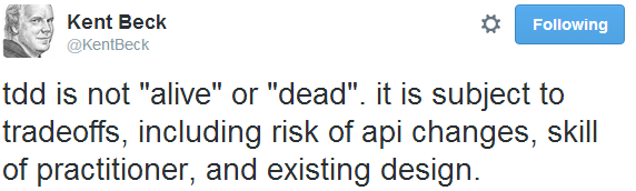 TDD is neither alive nor dead